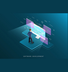 Software development flat isometric concept vector