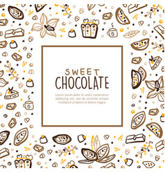sweet chocolate banner template with space for vector image