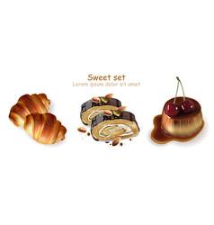 Sweet croissants pistachio rolls and panna cotta vector
