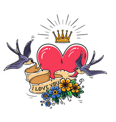 tattoo with heartflowersgold crownswallows vector image