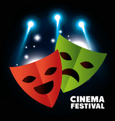 theater masks festival cinema vector image