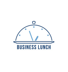 thin line blue business lunch logo vector image
