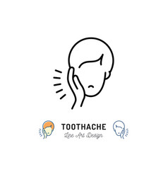 Toothache icon dental pain sign man with vector