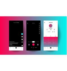 trendy tik tok screen interface and tik tok icons vector image