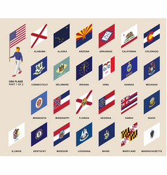 Usa standard bearer with set of states flags vector