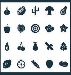 vegetable icons set with root vegetable natural vector image