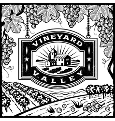 Vineyard Valley black and white vector