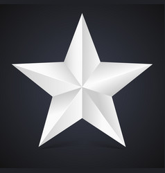 volumetric five-pointed star with shadow icon of vector image