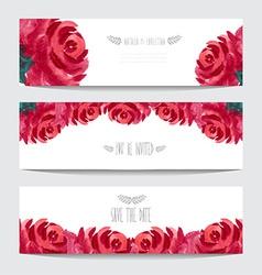 Watercolor floral cards set vector