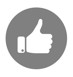 white hand silhouette with thumb up in grey circle vector image