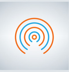 wifi signal circle waves icon flat design style vector image