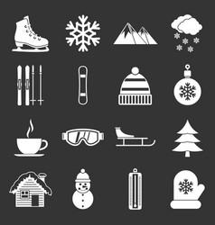 winter icons set grey vector image