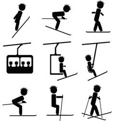 Winter ski icon vector