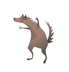 wolf scary and funny beast character cute cartoon vector image