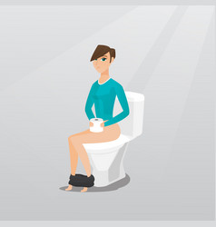 Woman suffering from diarrhea or constipation vector