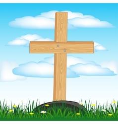 Wooden cross on grave vector