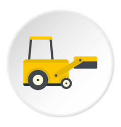 Yellow truck to lift cargo icon circle vector
