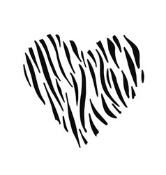 Zebra print skin in the shape of a heart vector