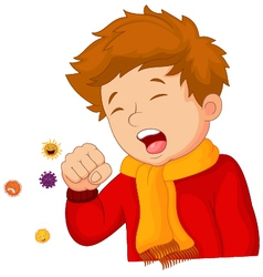 little boy coughing on white background vector image vector image