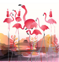 Pink flamingos in surreal world vector
