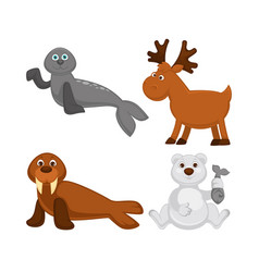 Adorable animals from cold countries and north vector