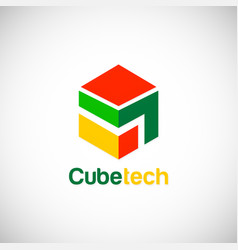 cube technology logo vector image
