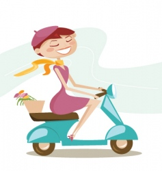 scooter girl vector image vector image