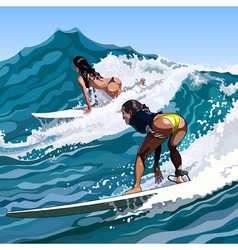 woman surfing on a wave moving vector image