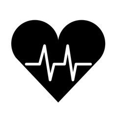 black icon heart beat pulse vector image vector image