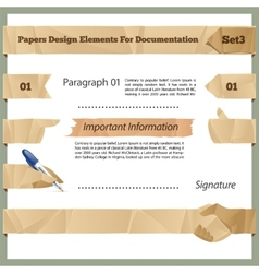 Crumpled Paper Design Elements For Documentation vector image vector image