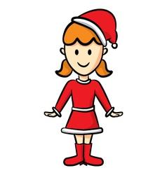 cute girl wearing santa costume vector image vector image