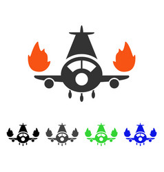 Airplane engines burn flat icon vector