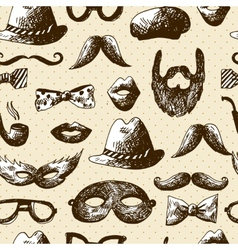 Hand Drawn Hipster Seamless Background vector image vector image