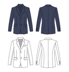 Long short sleeved mans buttoned jacket vector