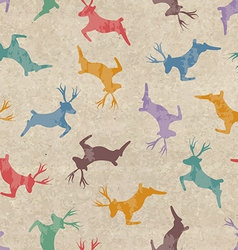 Retro Christmas seamless pattern with deers vector image