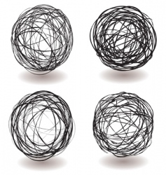 scribble ball icon vector image vector image