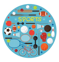 Sports Equipment Flat Icons Label vector image