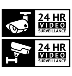 Video surveillance stickers set vector image vector image