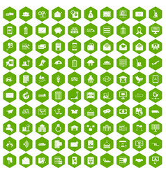 100 postal service icons hexagon green vector