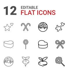 12 sugar icons vector image