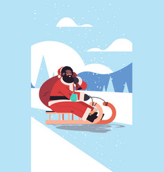 African american santa with mask riding sledge vector