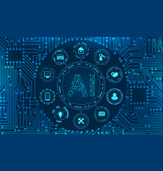 ai artificial intelligence circuit background vector image