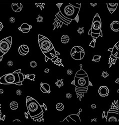 animals in space seamless background vector image