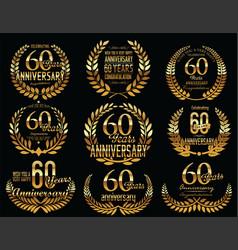 anniversary golden laurel wreath retro vintage vector image
