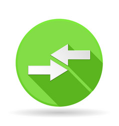 arrows icon green round sign with shadow left vector image