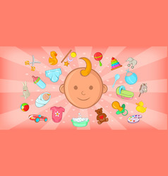 Baby born horizontal banner cartoon style vector
