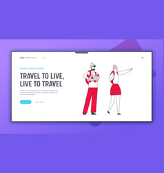 backpackers learning map website landing page vector image