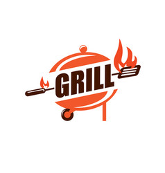 bbq and grill stylized symbol label and emblem vector image
