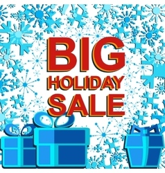 Big winter sale poster with BIG HOLIDAY SALE text vector image