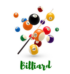 Billiard pool ball cue poster for snooker design vector